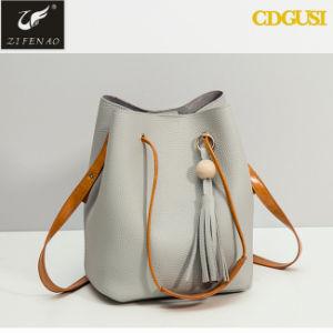 고품질 주문 디자이너 공상 색깔 PU 가죽 끈달린 가방 여자 물통 부대 도매 중국 2018년