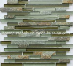 Dosseret de cuisine en verre de carreaux de mosaïque de marbre ardoise Mix