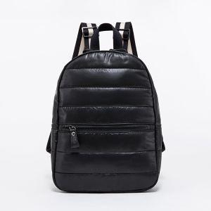 Unisex de moda Double-Shoulder negro cuero impermeable anorak mochila