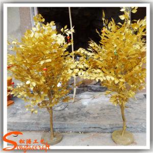 Direto da fábrica ramos secos Ouro Artificial Ficus Banyan Tree