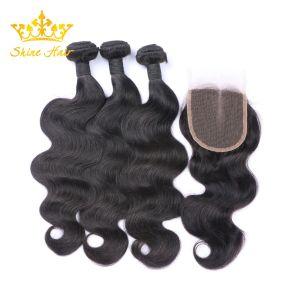 100% Remy brésilien pour cheveux humain naturel noir couleur #1b vierge Bundles de cheveux