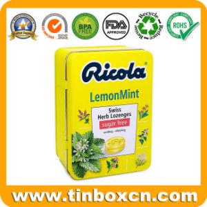 Articulada en relieve de limón sin azúcar caramelos de menta tin box