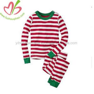 De Katoenen van 100% Kleren van Kerstmis Geplaatst Kinderen de Lange Pyjama's van de Streep van de Koker