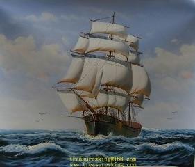 Het Hijgen van de olie Hand Afgedrukte Zeilboot