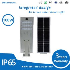 Outdoor 60W 80W 100W Rue lumière solaire intégré toutes dans l'un déplacement à distance Lampe LED IP65
