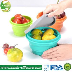 Silicone redonda Lunchbox Alimentos Recipiente de Armazenamento Colapsáveis Lunchbox