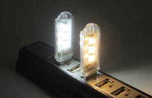 3 LED luz nocturna USB Uso de emergencia de la luz de la noche de la luz de la forma de disco de luz LED USB