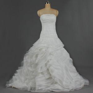 2019 Modesto Ruffle Strapless Ball Bata Organza vestidos de casamento