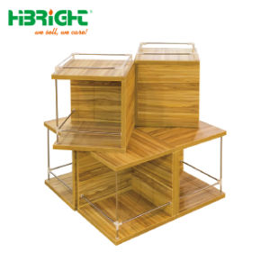 Supermarché alimentaire personnalisé Présentoir de table en bois de supermarchés de la promotion