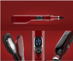 Pantalla LCD peine el cabello de vapor rápido eléctrico cepillo de pelo rectos peine planchas alisadoras iónica recta automática cepillo de pelo vapor