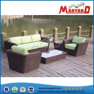 Mobiliário de jardim exterior Wicker sofá duplo sofá individual Miami sofá de vime