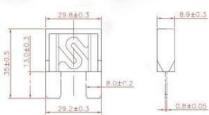 自動最大刃のヒューズの差込式様式は32V 20A 30A 40A 50A 60A 70A 80A 100A 120A AMPを溶かす