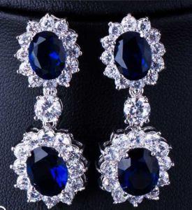 Oval clásico juego de la Joyería nupcial de boda azul zafiro Cubic Zirconia Necklace
