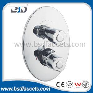 Válvula de ducha termostática ocultada gemela del precio del factor con la placa de cobre amarillo oval