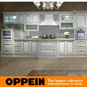 Blanco Mobiliario de cocina gabinete con Guangzhou Feria de Cantón (OP13-264)