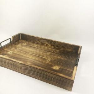 Fsc antique en bois personnalisé Pinewood Rectangle desservant le bac au service de bac avec poignée en métal