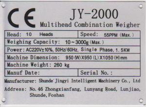 Pesatore JY-2000A di combinazione di Multihead delle 10 teste