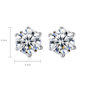 Luxury 5 mm 1 Carat Round Zircónia cúbicos 925 Sterling Silver brinco
