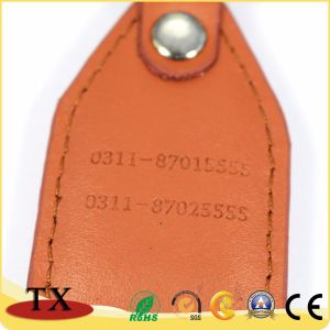 Бизнес-рекламный Логотип металлические Tag держателя ключа из натуральной кожи