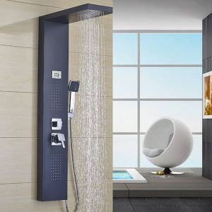 Cabezal de ducha de lluvia LED Cascada del Panel de ducha de acero inoxidable Sistema de torre con 6 funciones