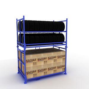 Bon marché de la peinture de couleur de l'entrepôt de stockage pliable Tire Rack
