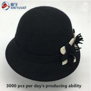 方法花の装飾が付いている卸し売り冬の女性のウールのフェルトのバケツの帽子