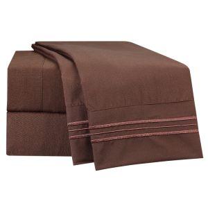 Hotel 5 Estrellas la ropa de cama cama microfibra bordado Conjunto de hojas