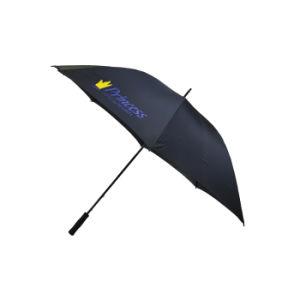高品質の大きい防風の黒いゴルフ傘の昇進のガラス繊維の傘
