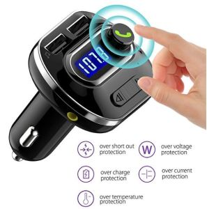 Transmisor FM Bluetooth para coche radio transmisor inalámbrico adaptador con soporte para el reproductor de música llamada Hand-Free TF tarjeta USB CARGADOR