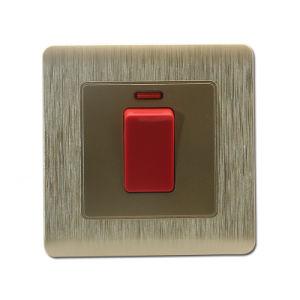 La Norma británica 45UN INTERRUPTOR DP con neón Interruptor de pared de la placa de cocina (C20-011)