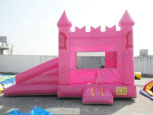 Puente de partido rosa para niña con tobogán, piscina juegos inflables B3087