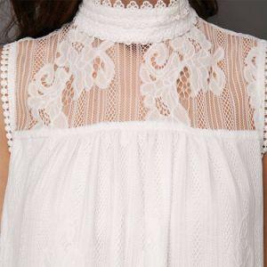Camiseta sin mangas de cuello de simulacro de Panel de Encaje blusa blanca