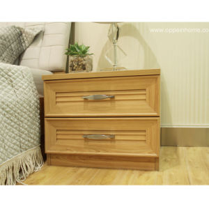 Oppein Classic Brown Two Drawers Wood Night Stand (CT11151)