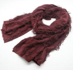 Fashion Plain Color Viscose女性アクリルの編まれたばねのスカーフ(YKY1159)