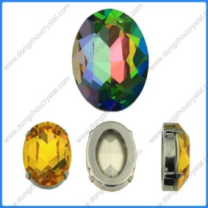 Bergkristal 3002 het Middel van Vitrail van het Kristal van 18*25mm naait op Foiled Ovale Buitensporige Steen van het Kristal