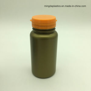 Vacío portátiles de color marrón oscuro ronda contenedor vitamina dulces botellas de plástico 150ml con tapón de tirar lagrimeo