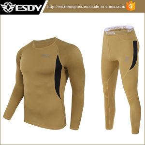 Biancheria intima calda del Thermal dei vestiti del panno morbido termico tattico di servizio dell'OEM del Brown