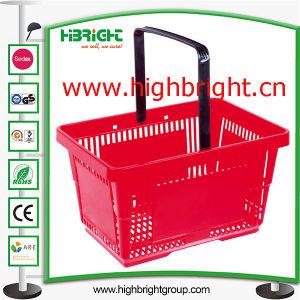 Orange Plastikeinkaufskorb für Supermarkt