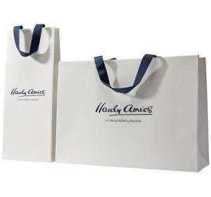 옷을%s 재생된 숙녀 운반대 백색 또는 브라운 또는 까만 또는 녹색 또는 예술 또는 Kraft 또는 광택지 부대 쇼핑 백 또는 의복 또는 선물