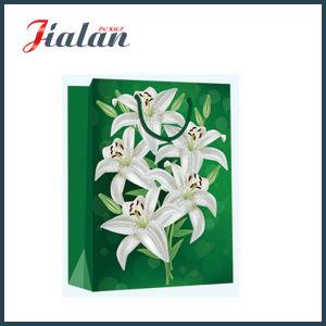 4c에 의하여 인쇄된 꽃 백합 쇼핑 운반대 선물 종이 봉지를 주문을 받아서 만드십시오