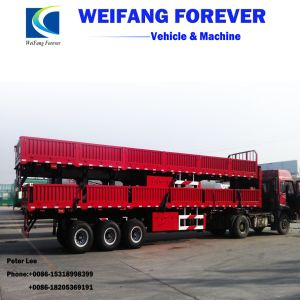 半永久にWeifang中国の良質3axleの平面貨物トレーラーか側面のトレーラー