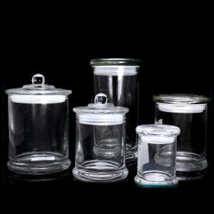 Jarra de cristal vacía, el vidrio vela frasco con tapa de vidrio plano