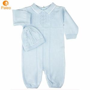 Fabricant de gros personnalisé plein Pointelle tricot de coton bébé fille ensemble Romper avec chapeau