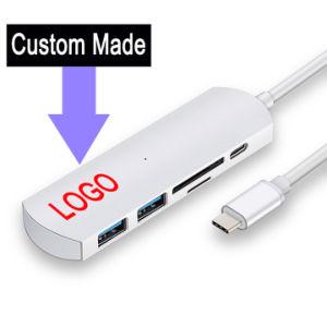 Aluminio hecho personalizado tipo C C USB USB hub de LAN de tipo C y 2 puertos USB 3.0 tipo de lector de tarjetas Micro SD-C Hub