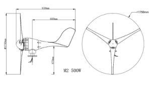 Gerador de turbina trifásico do vento 500W do uso Home