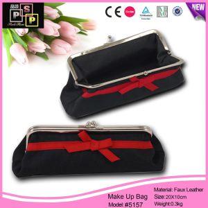Maquillage personnalisé Sac noir en cuir kit Bag Sac de cosmétiques (5157)