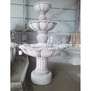 Beige/Witte Marmeren Standbeelden die de Fontein van het Water van de Tuin van het Beeldhouwwerk snijden