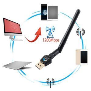1200Mbps rtl8812bu 2,4 GHZ 802.11ac&5GHz Dual Band Gigabit sans fil Adaptateur USB WiFi dongle récepteur /WLAN avec 2dBi Antenne externe
