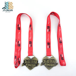 Forme de coeur de bonne qualité de l'amour de l'exécution médaille de bronze antique finition personnalisée