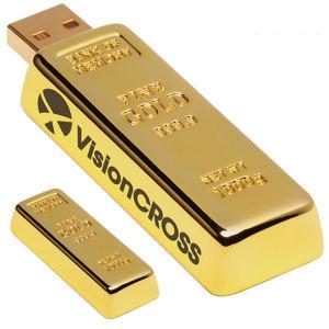 Золотой металлический флэш-накопитель USB с вырезанными логотип